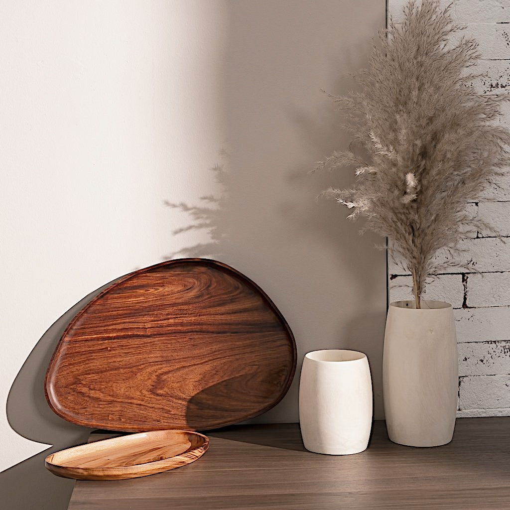 Wooden leaf-shaped trays in a kitchen space
