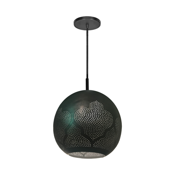 Black patterned pendant light