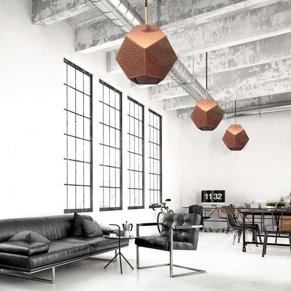 Modern office with copper geometric pendant lights