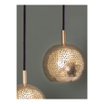 Perforated copper pendant light on a grey background