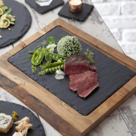 Group of slate and wood platters