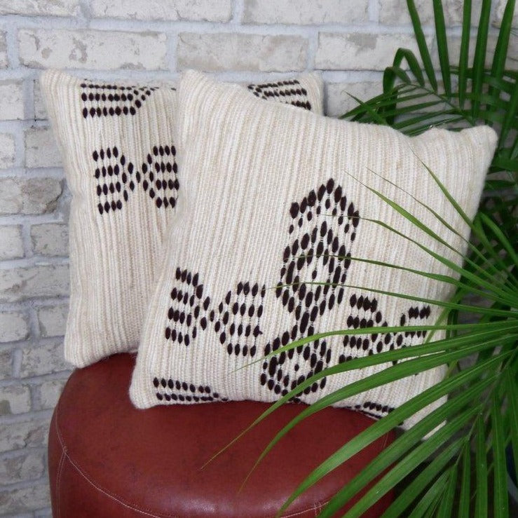 Two patterned pillows on a leather stool near a plant