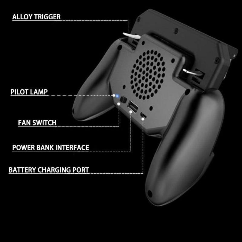 Controle Acionador com Cooler PUBG/Fortnite /Rules of Survival Gaming Grip