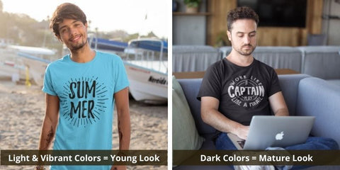 Young look vs mature look t-shirt