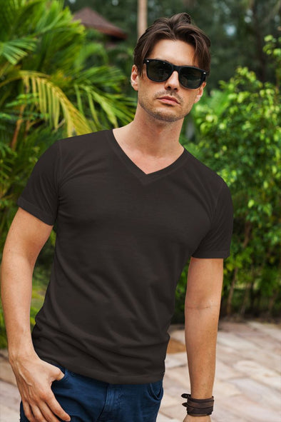 V Neck Plain Black Men's T-shirt - GOGIRGIT.COM