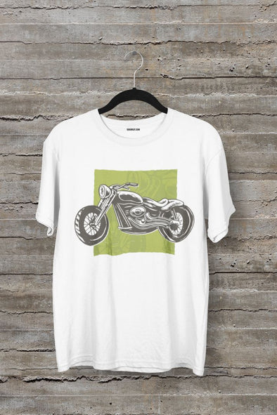 Motorcycle Men's Half Sleeve White Travel T-shirt - GOGIRGIT.COM