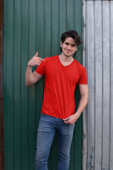V Neck Plain Red Men's T-shirt - GOGIRGIT.COM