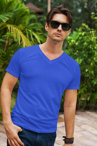 V Neck Plain Royal Blue Men's T-shirt - GOGIRGIT.COM