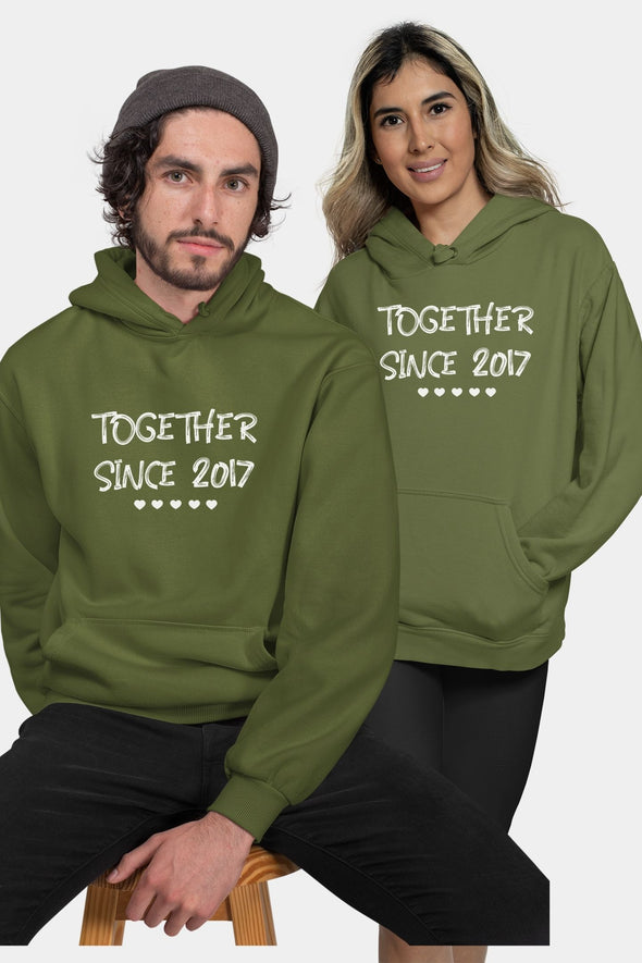 Together Since 2017 Customizable Couple Hoodie