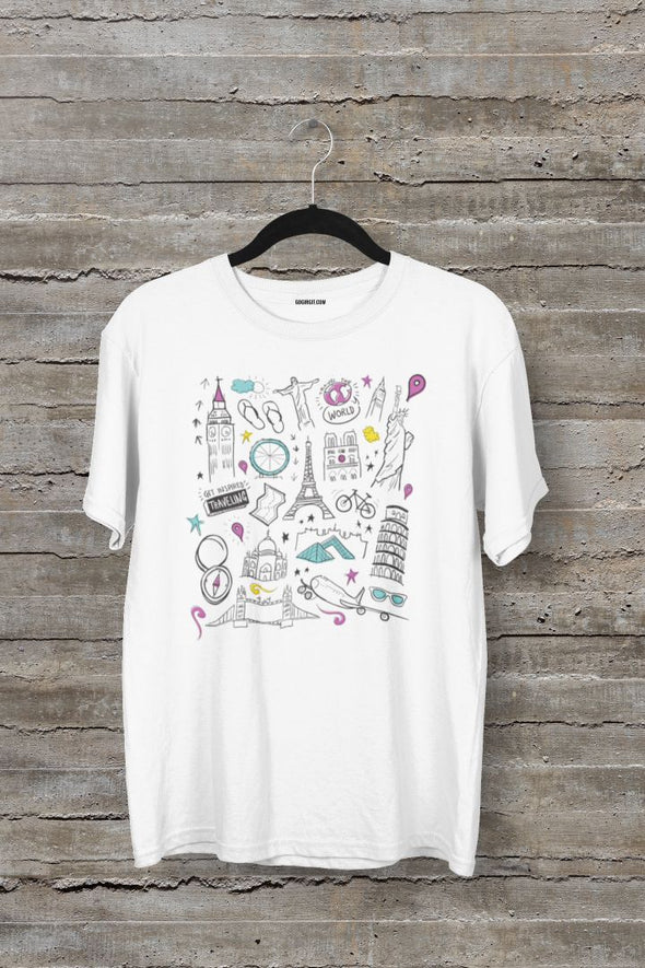 Travel The World Men's Half Sleeve White Travel T-shirt - GOGIRGIT.COM