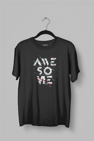 Awesome Men's Black Typography Black T-shirt - GOGIRGIT.COM
