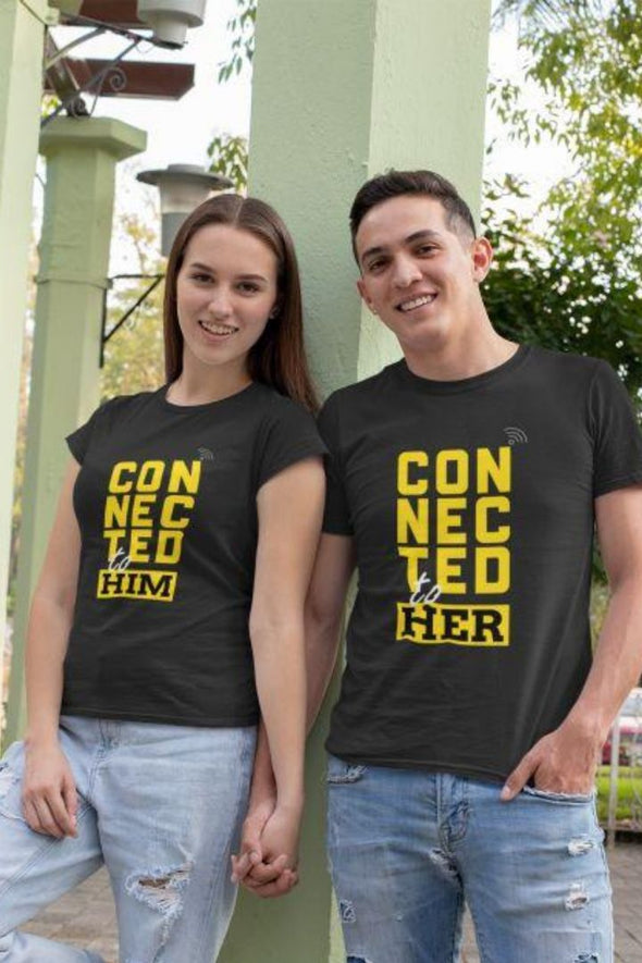 Connected To Her/Him Black Couple Tee