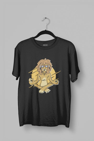 Meditating Lion Men's Half Sleeve Yoga T-shirt - GOGIRGIT.COM