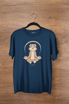 Meditating Dog Men's Half Sleeve Navy Blue Yoga T-shirt - GOGIRGIT.COM