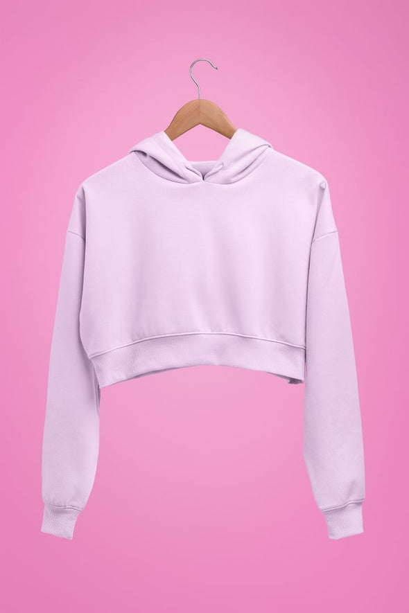 Women Solid Light Pink Crop Hoodie| Pullover