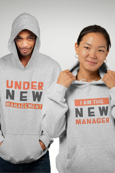 Under New Management Melange Grey Couple Hoodies