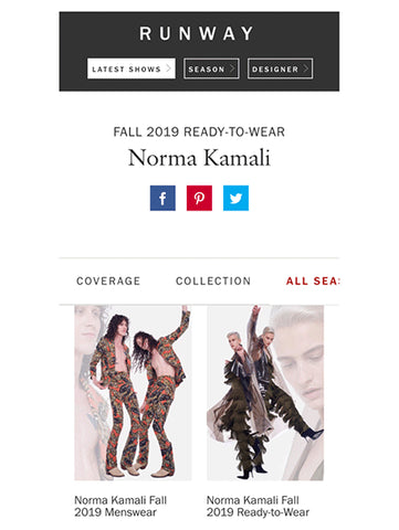 VOGUE RUNWAY FEBRUARY 2019 NORMA KAMALI