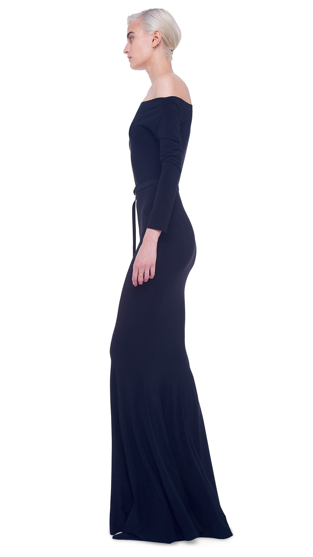 LONG SLEEVE DROP SHOULDER FISHTAIL GOWN
