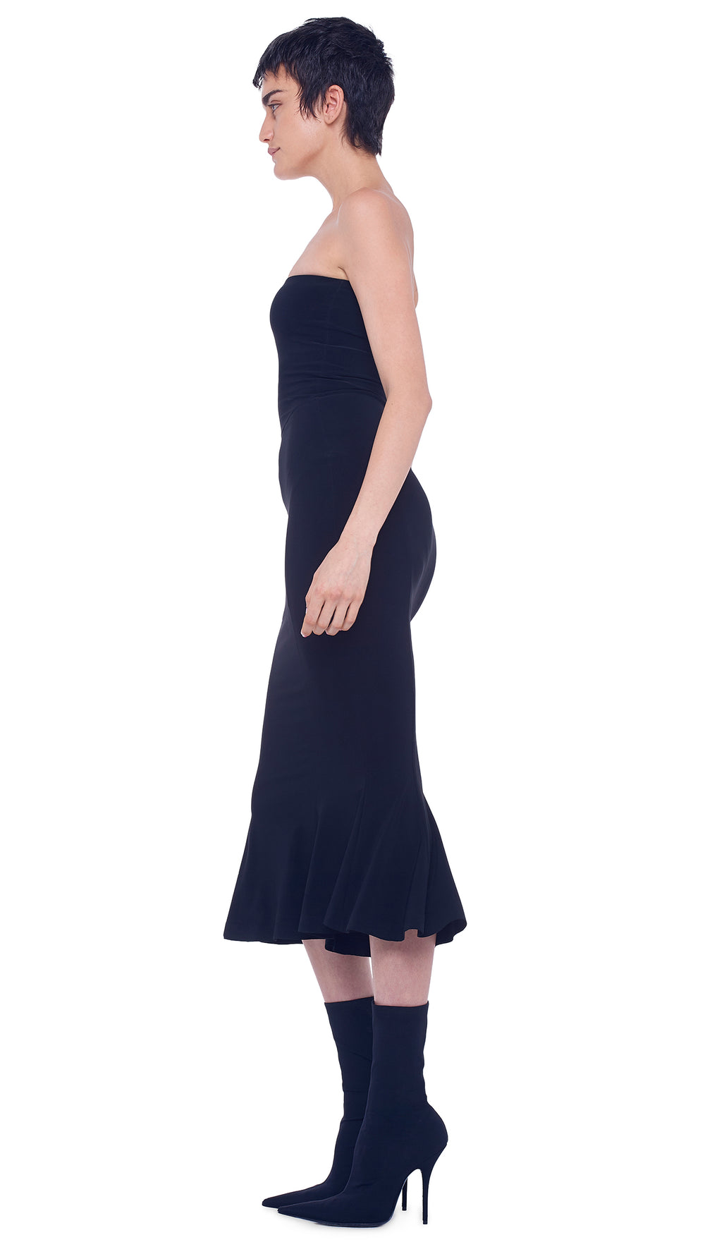STRAPLESS FISHTAIL DRESS TO MIDCALF