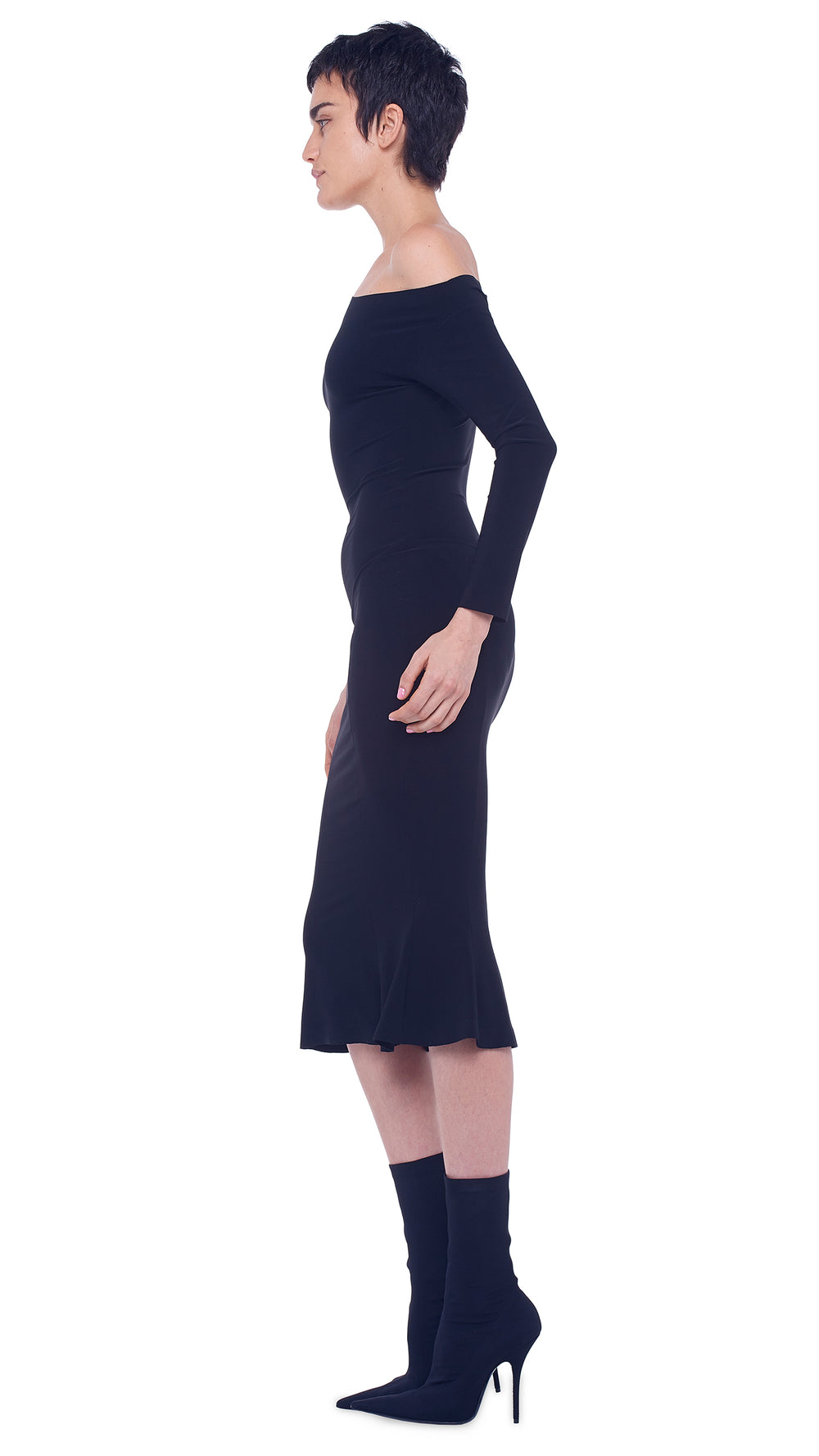LONG SLEEVE DROP SHOULDER FISHTAIL DRESS TO MIDCALF