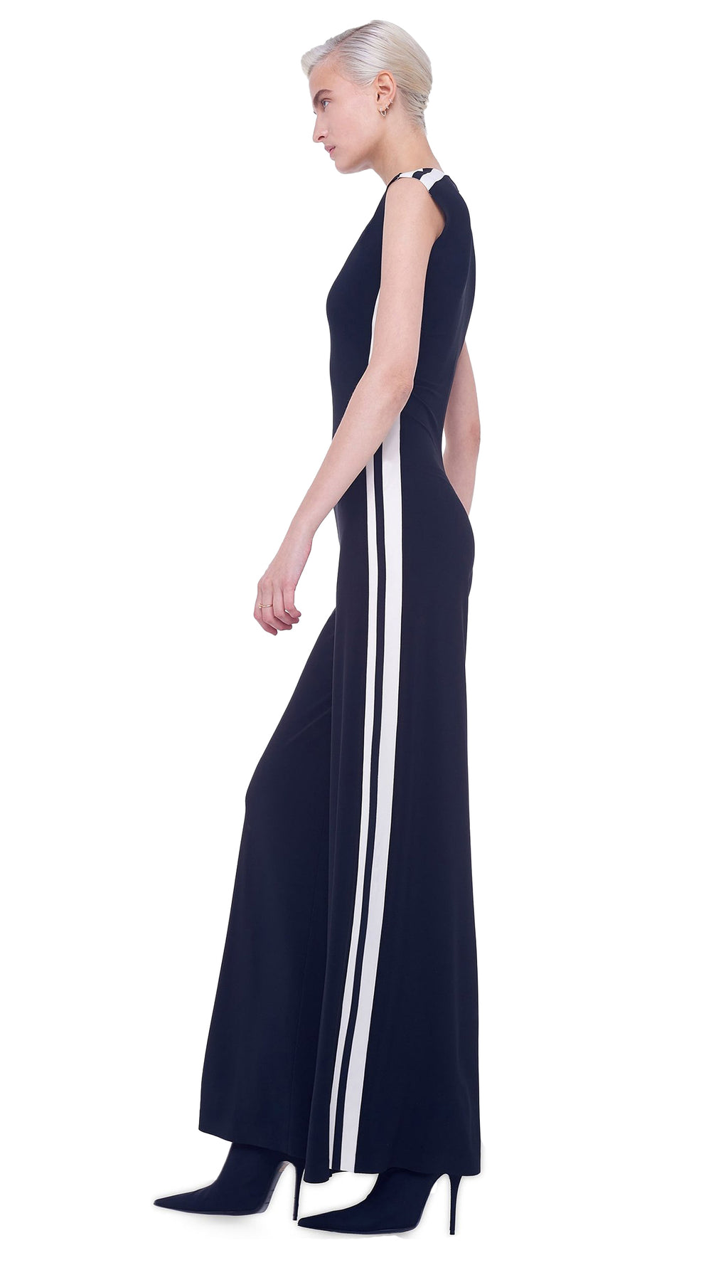 SIDE STRIPE SLEEVELESS JUMPSUIT