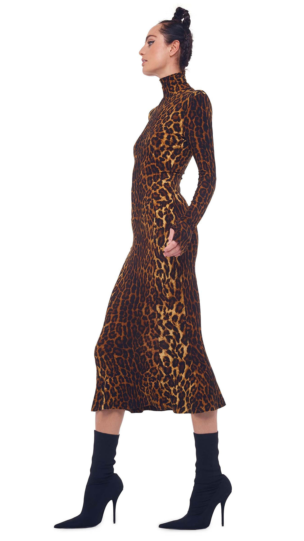 LONG SLEEVE TURTLE FISHTAIL DRESS TO MIDCALF