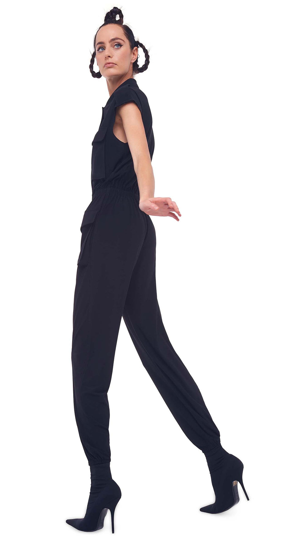 SLEEVELESS NK CARGO JUMPSUIT