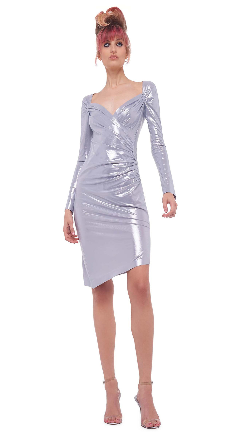 LONG SLEEVE SWEETHEART SIDE DRAPE DRESS TO KNEE