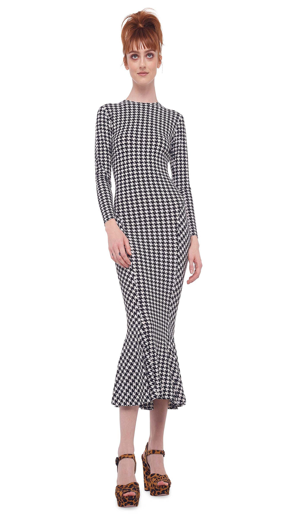 LONG SLEEVE CREW FISHTAIL DRESS TO MIDCALF