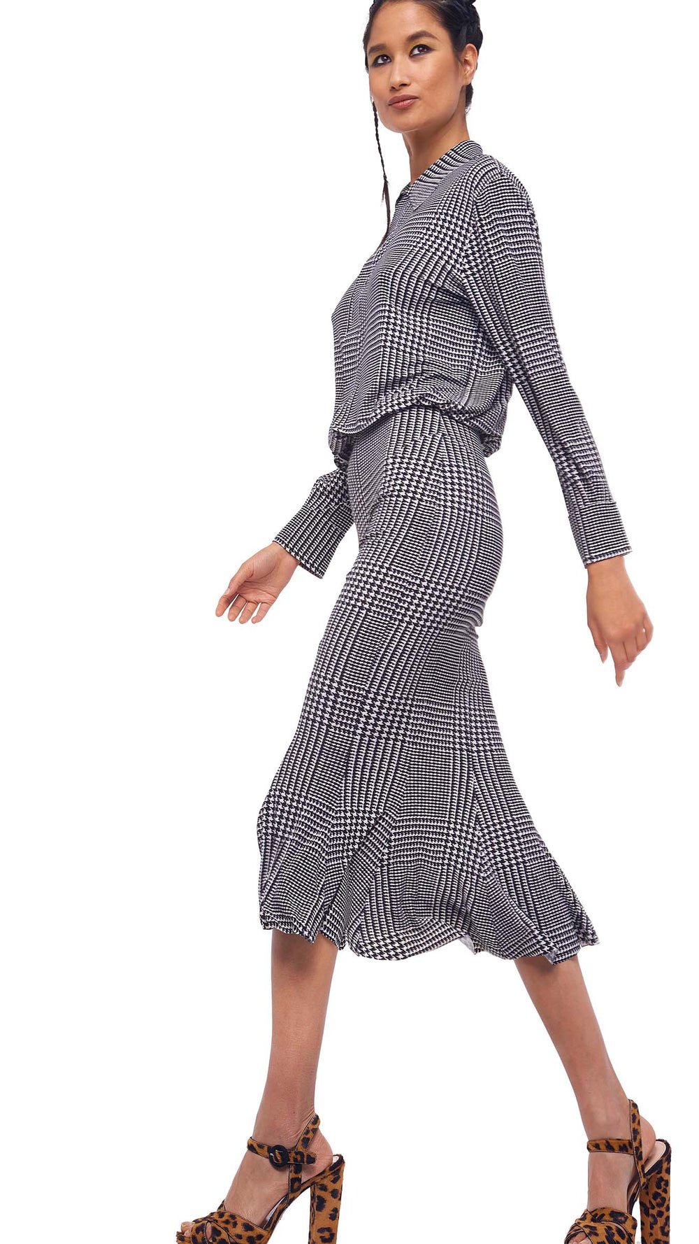 BF NK SHIRT FISHTAIL DRESS TO MIDCALF