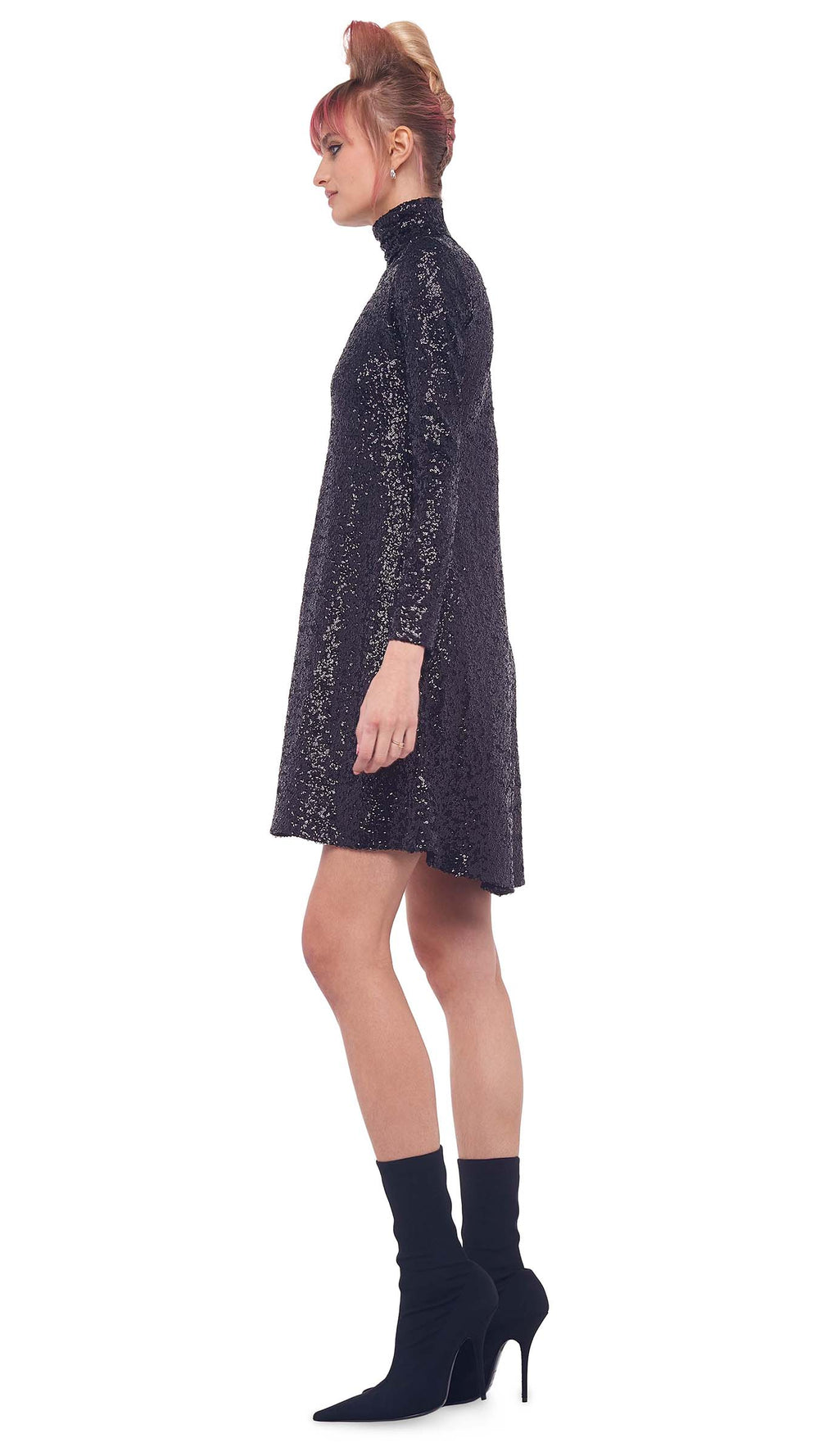 OVERLAPPING SEQUIN LONG SLEEVE TURTLE SWING DRESS