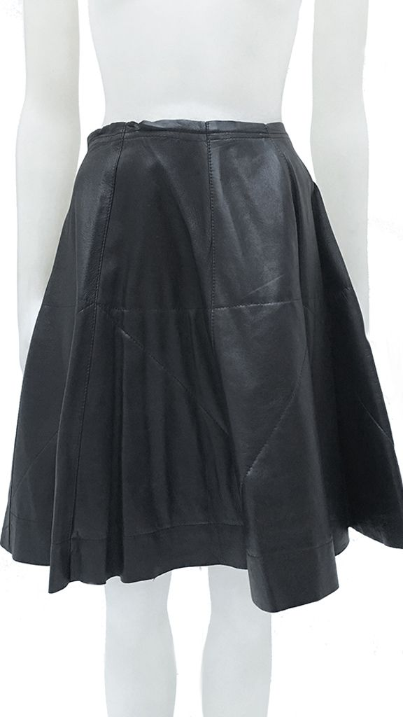 LEATHER PLEAT FLAIR SKIRT - 1