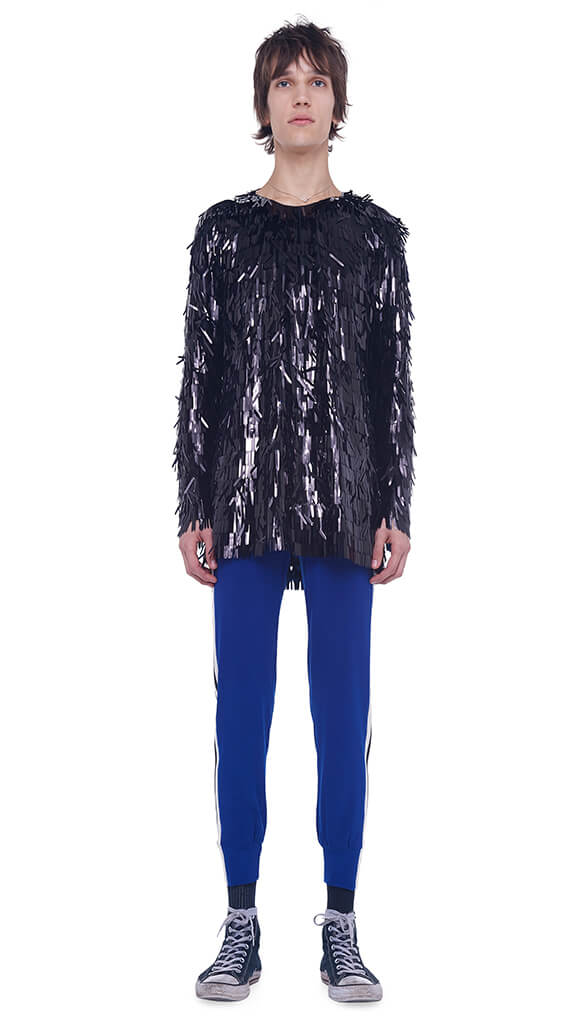 ALL OVER FRINGE SEQUIN BF L/S CREW