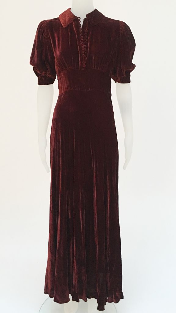 VELVET DRESS WITH PUFF SLEEVES AND TOGGLES - 2