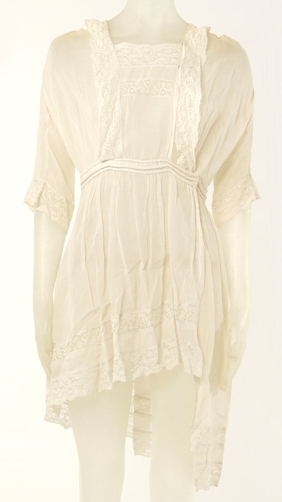 3/4 SLEEVE HIGH LOW LACE DRESS - 1