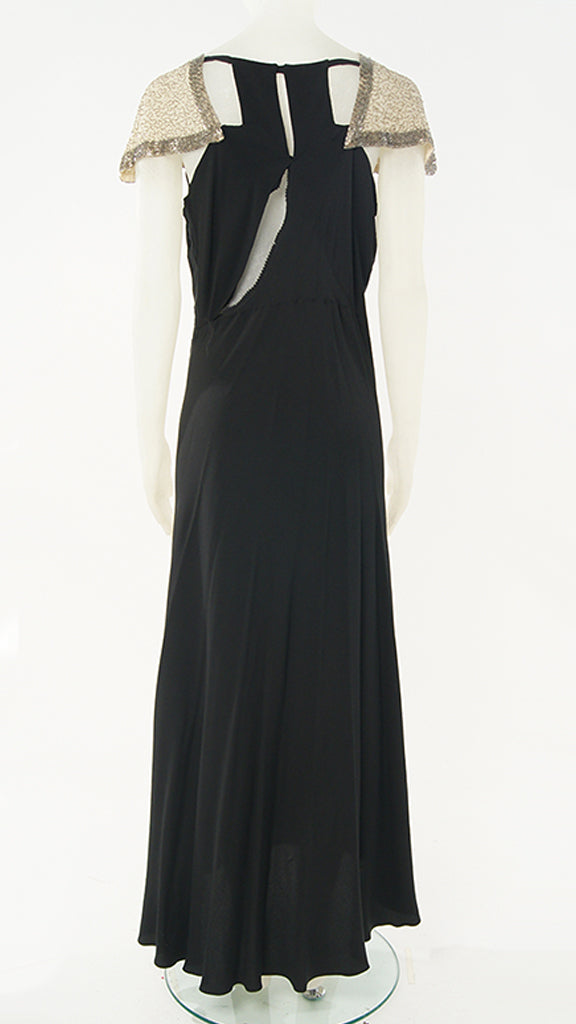 BEADED CAP SLEEVE GOWN - 2