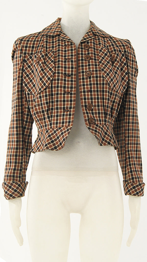 PLAID BUTTON UP BLAZER - 2