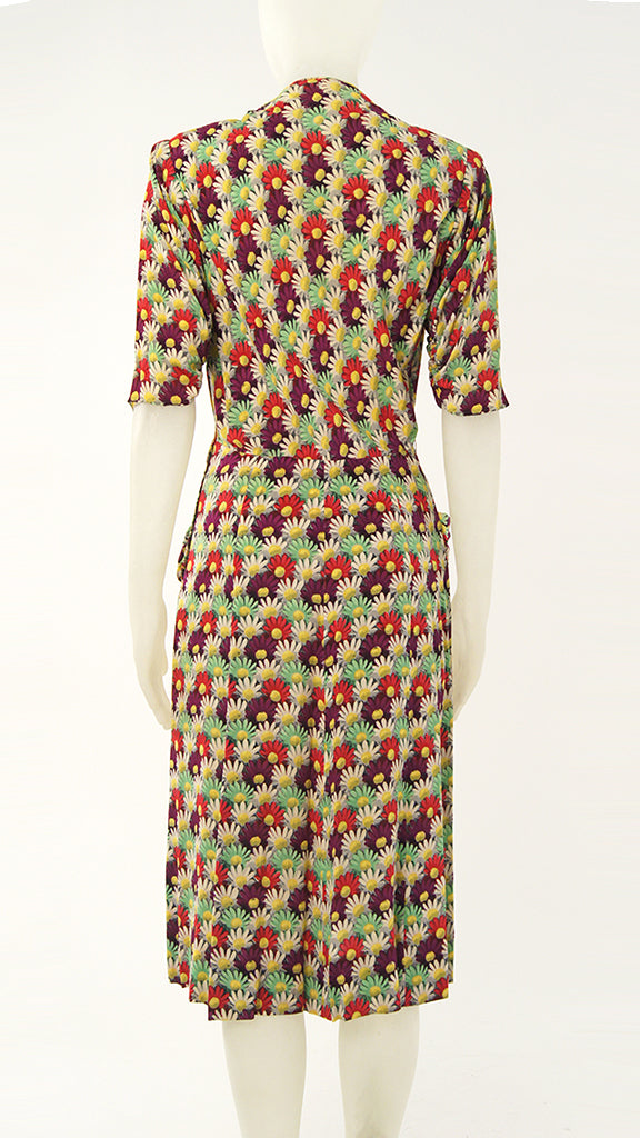 FLORAL POCKETED V NECK DRESS - 2