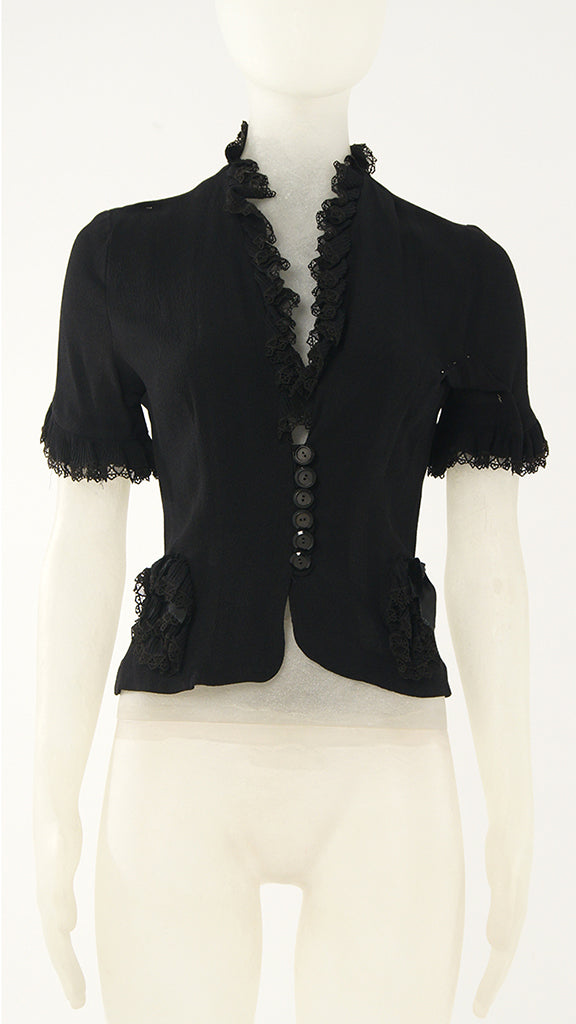LACE TRIMMED BUTTON BLOUSE - 1