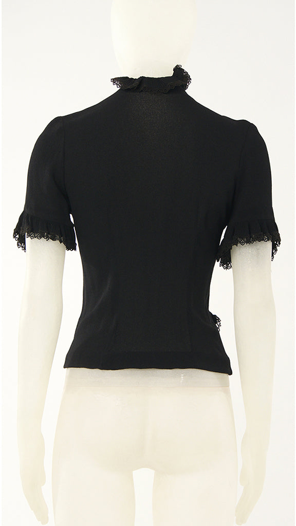 LACE TRIMMED BUTTON BLOUSE - 2