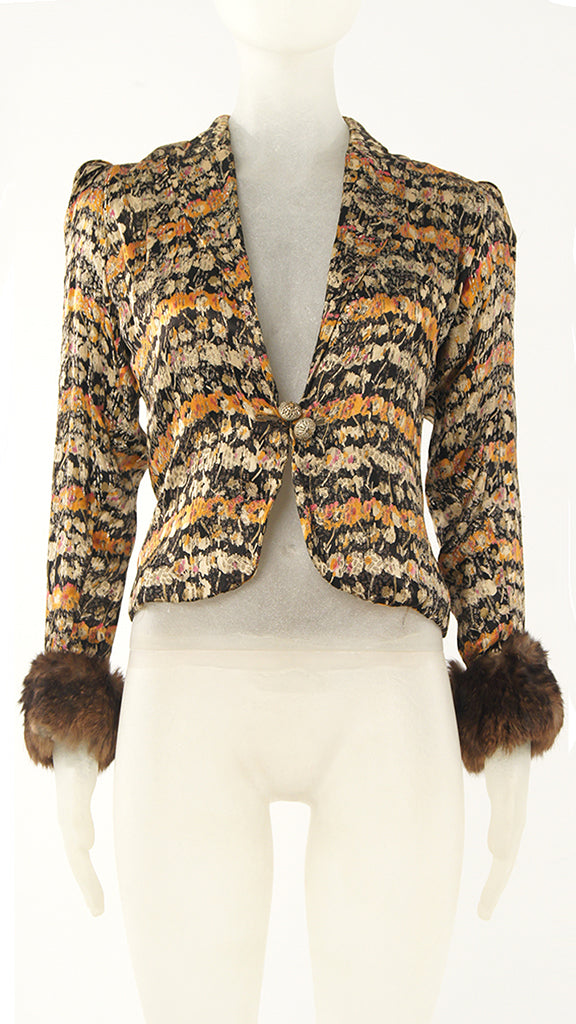 FUR CUFFED SINGLE BUTTONED BLAZER - 1