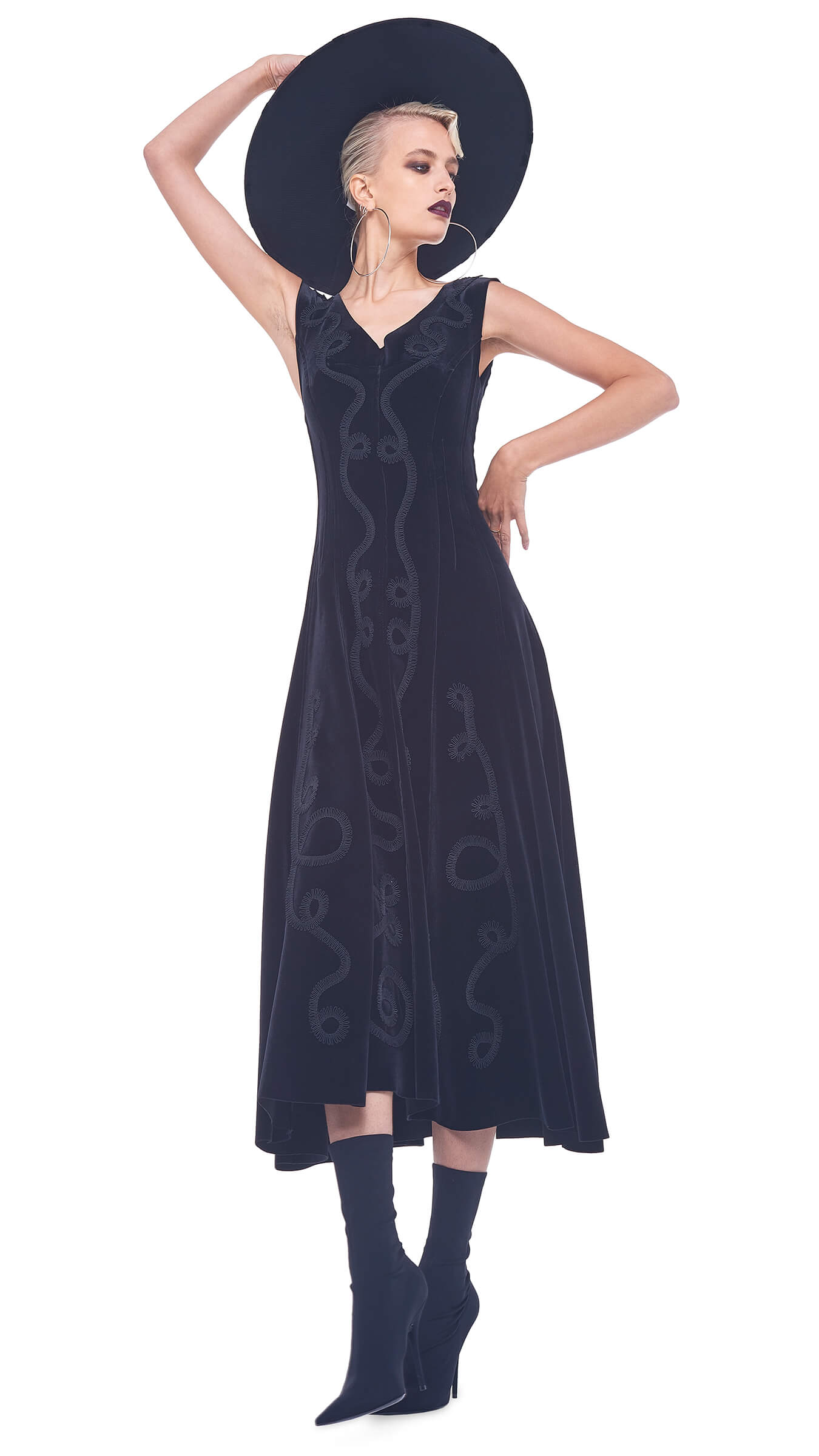 PASSEMENTERIE GRACE DRESS TO MIDCALF - VELVET