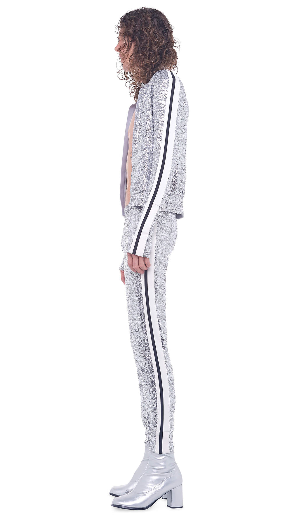 OVERLAPPING SEQUIN SIDE STRIPE JOG PANT