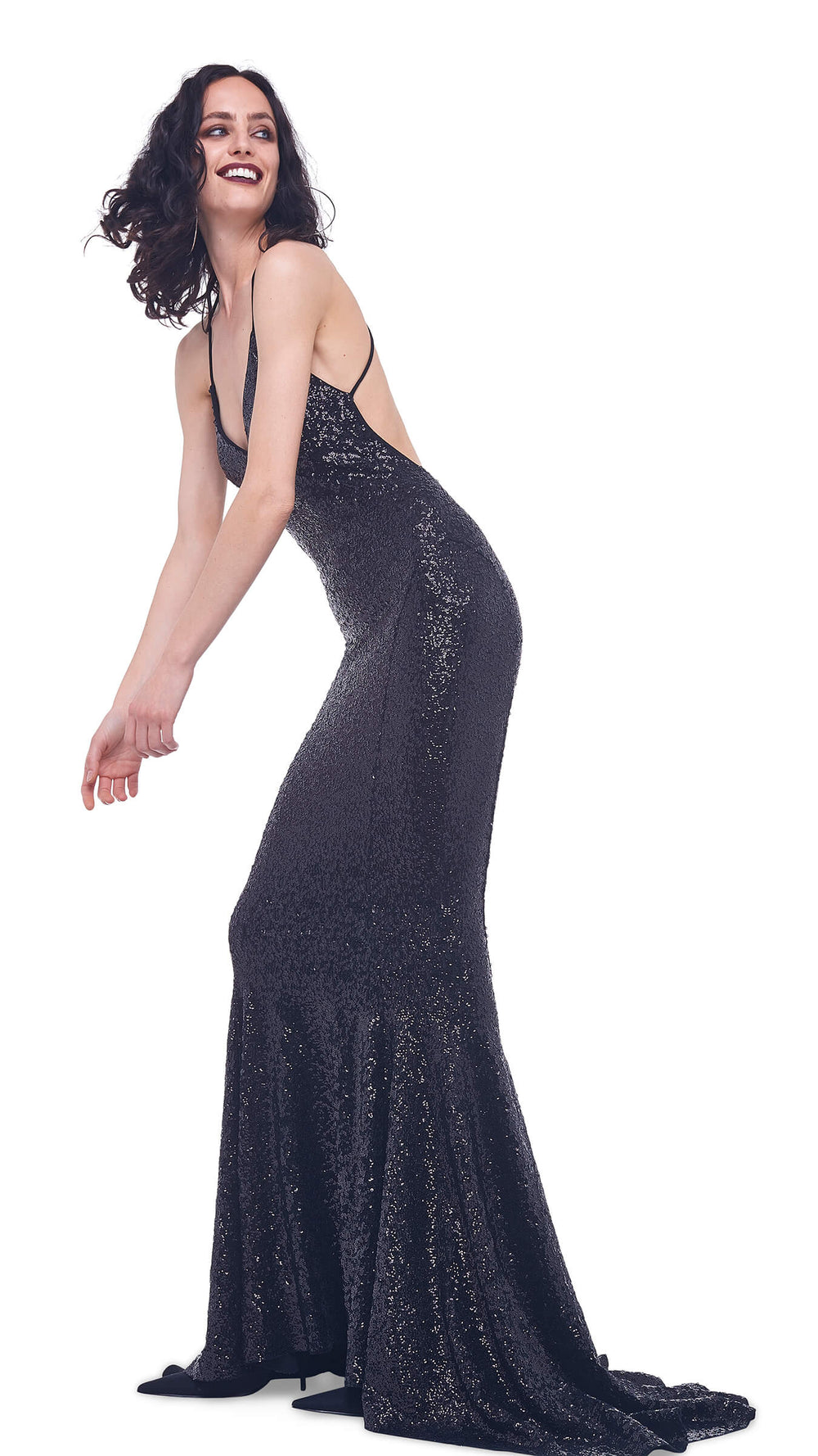 OVERLAPPING SEQUIN LOW BACK SLIP MERMAID FISHTAIL GOWN