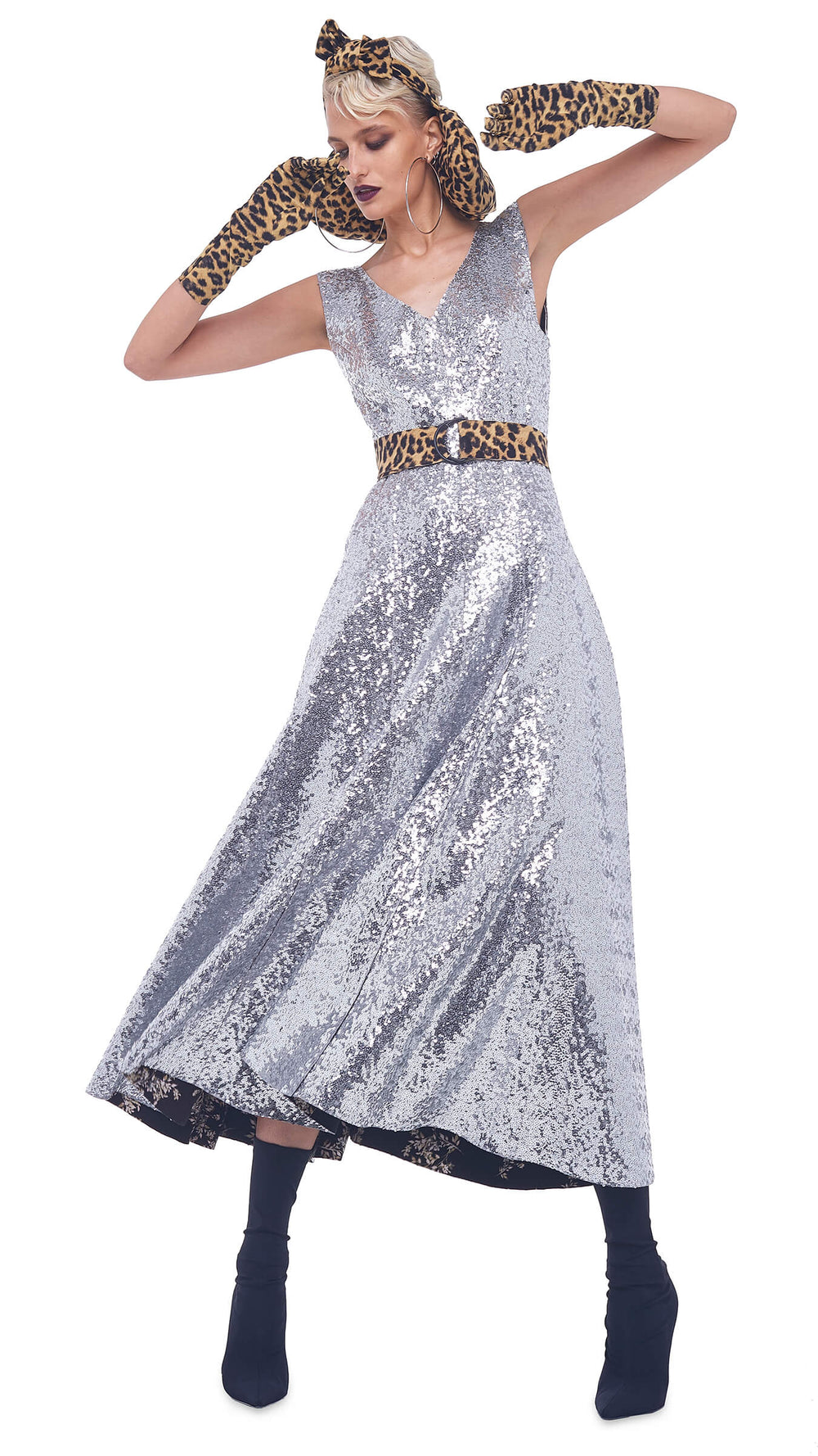 OVERLAPPING SEQUIN GRACE DRESS TO MIDCALF