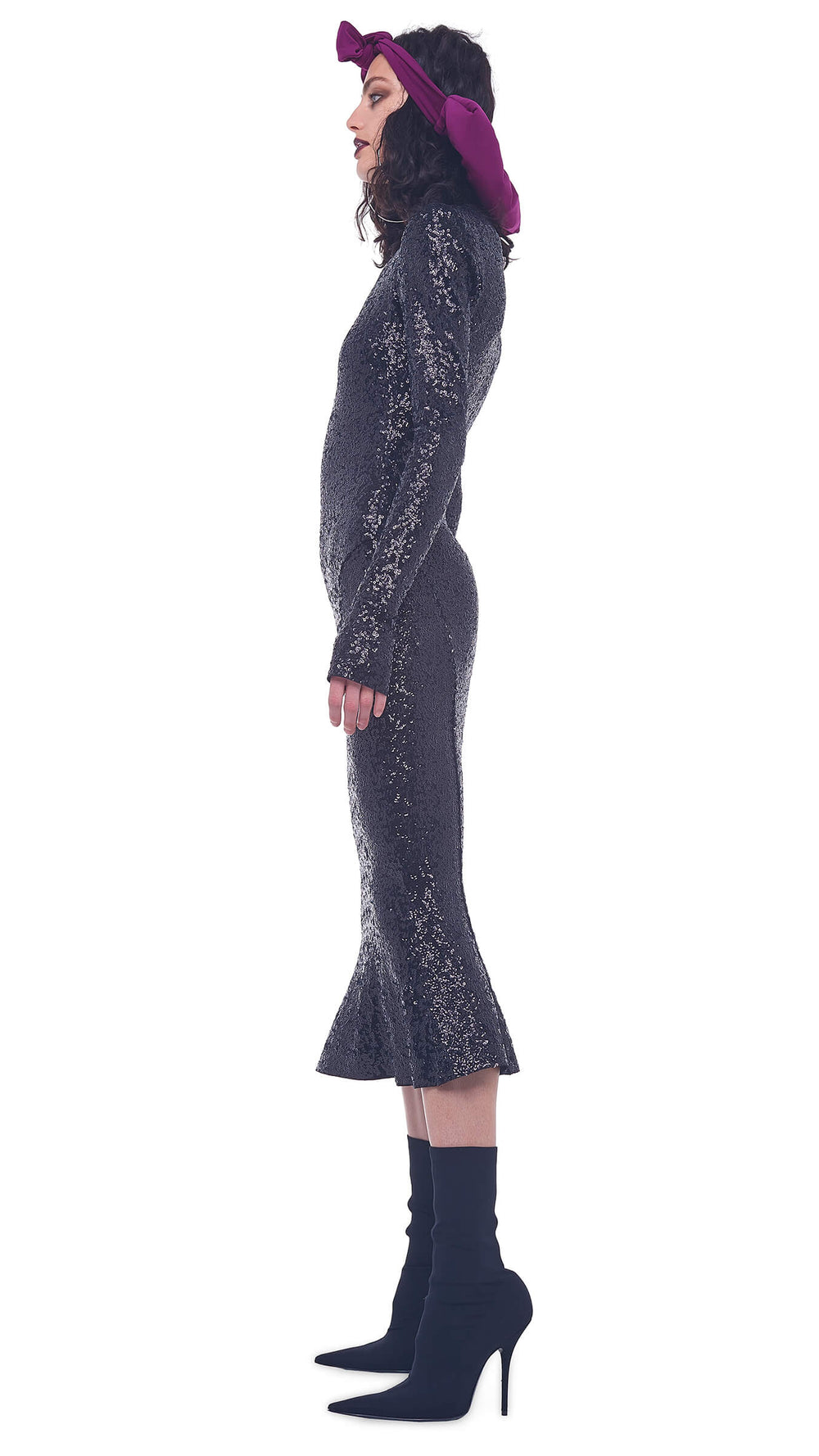OVERLAPPING SEQUIN LS TURTLE FISHTAIL DRESS TO MIDCALF
