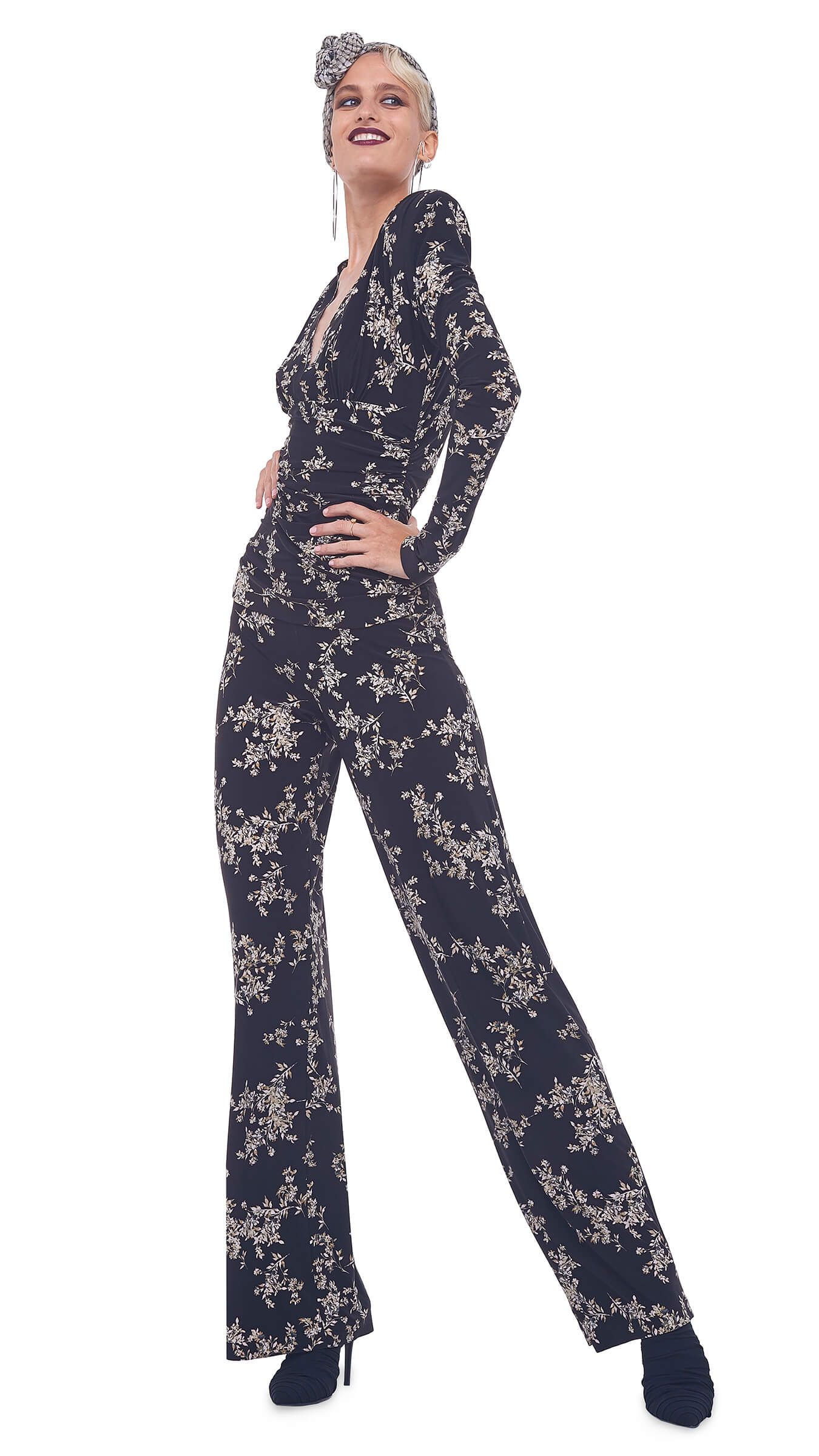 V NECK LONG SLEEVE SHIRRED WAIST JUMPSUIT WITH SHOULDER PADS