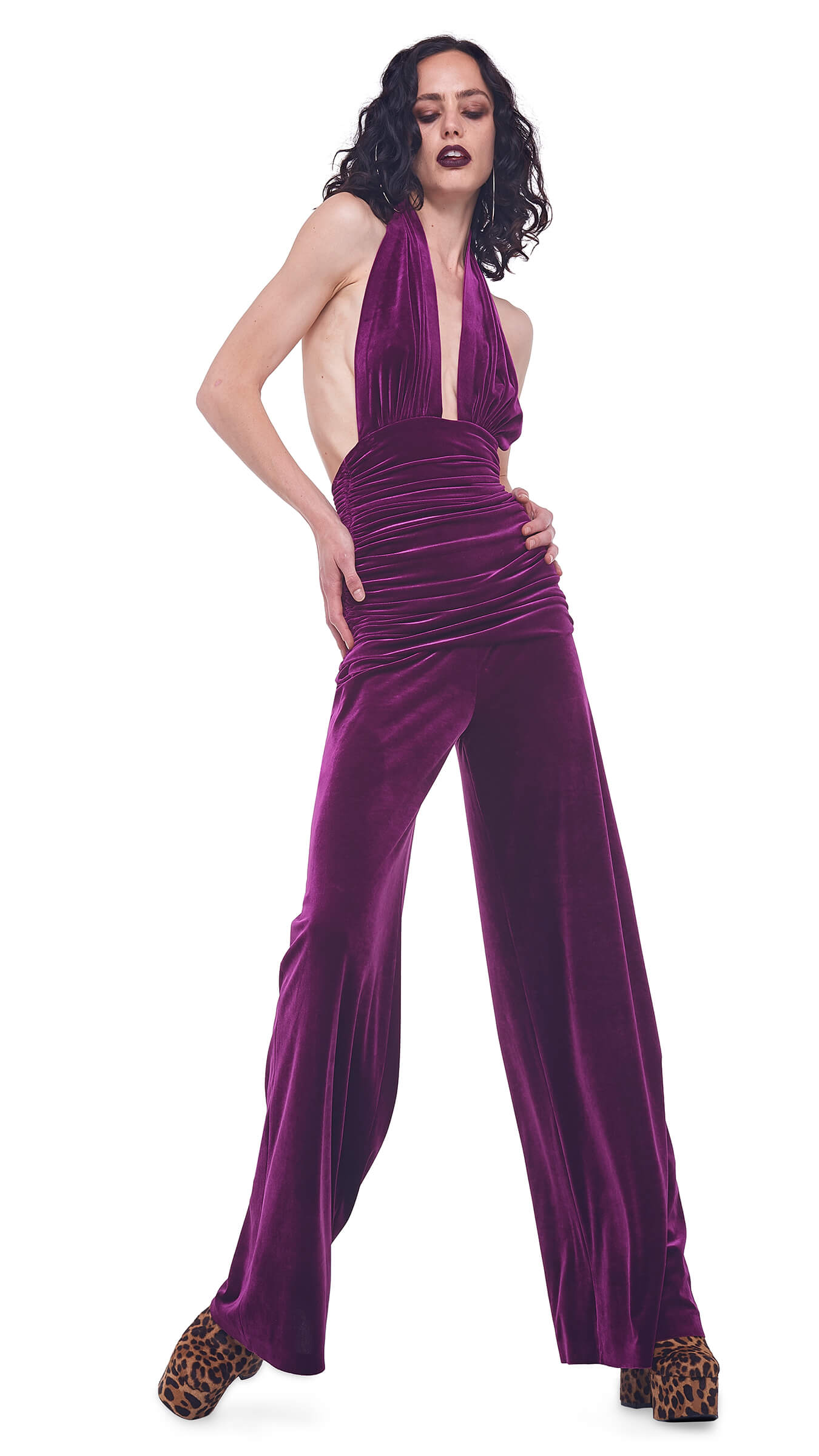 HALTER BILL JUMPSUIT - VELVET