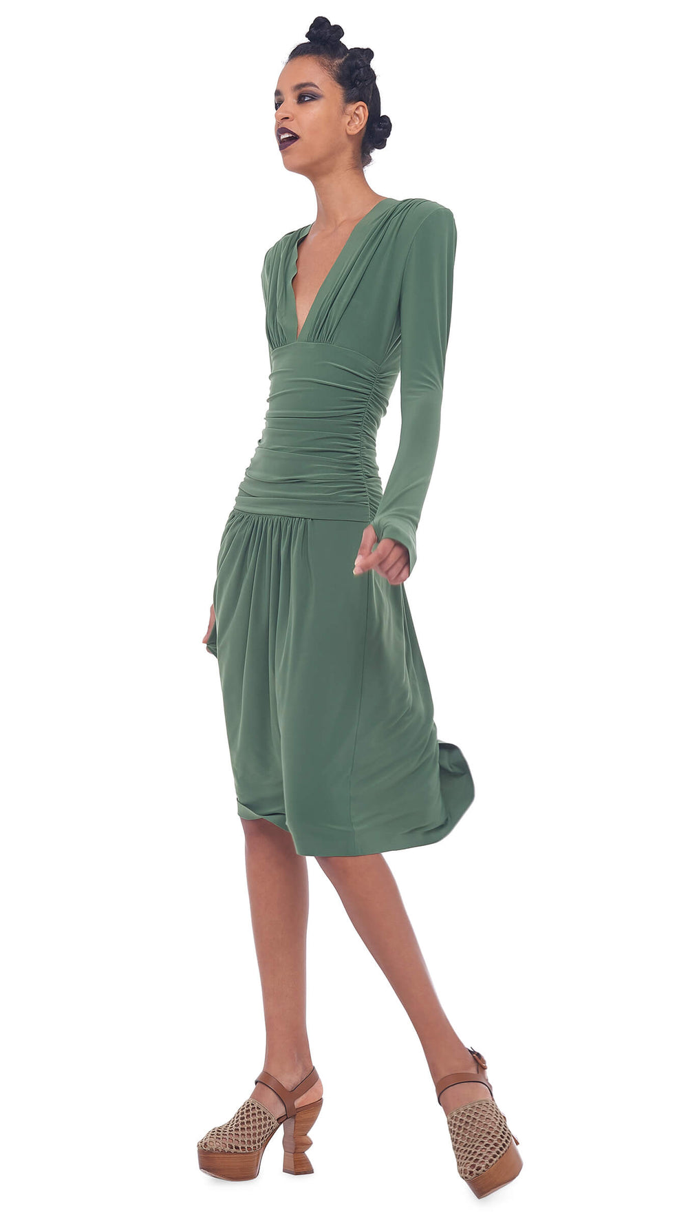 V NECK LONG SLEEVE SHIRRED WAIST DRESS WITH SHOULDER PADS