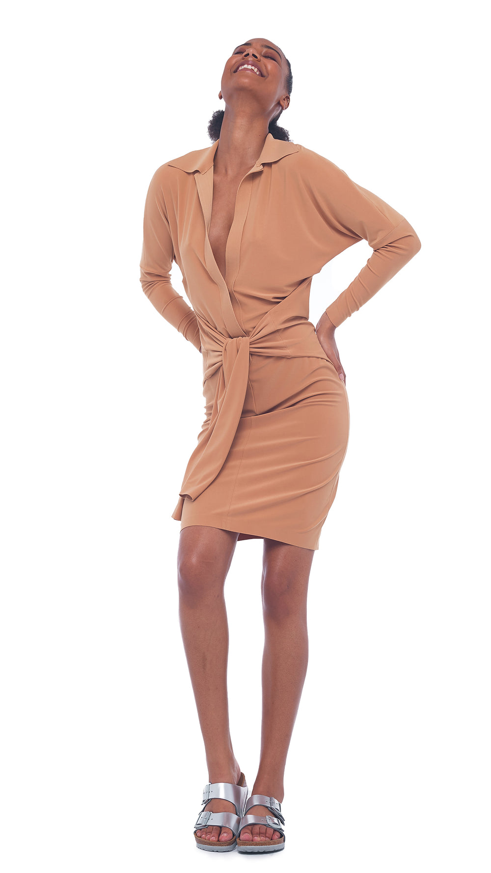 TY FRONT NK SHIRT DRESS TO KNEE